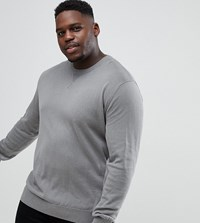 Jacamo Plus Knitted Jumper In Grey Mid Grey
