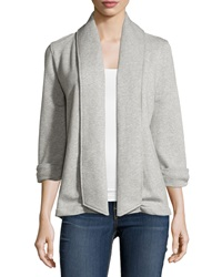 Theory Ashby Open Front Cotton Cardigan Light Grey