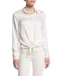 Equipment Archive Luis Tie Front Blouse White