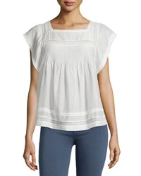 Joie Marleno Short Sleeve Lace Inset Top Porcelain