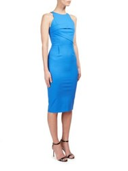 Roland Mouret Abersley Stretch Cotton Sheath Dress Cobalt Blue
