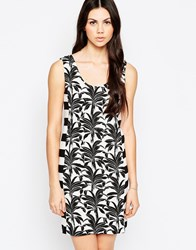 See By Chloe T Shirt Dress In Palm And Stripe Print Black And White