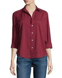 Frank And Eileen Eileen Long Sleeve Button Front Blouse Wine