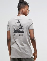 Asos Longline T Shirt With Skully Chest And Back Print Elephant Skin Grey