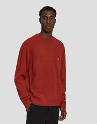 Obey Court Crewneck Sweater In Hot Red