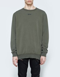 Off White Washed Crewneck Green