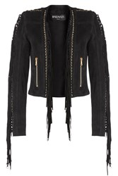 Balmain Fringed Suede Jacket Black