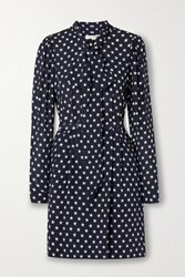 Michael Kors Collection Pussy Bow Belted Printed Silk Mini Dress Midnight Blue