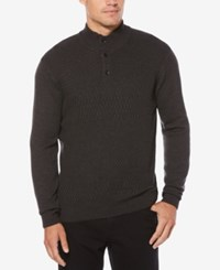 Perry Ellis Men's Button Collar Sweater Charcoal Heather