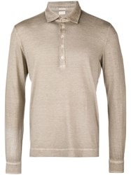 Massimo Alba Longsleeved Polo Shirt Nude And Neutrals