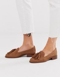 Aldo Leather Flat Tassel Loafers Brown