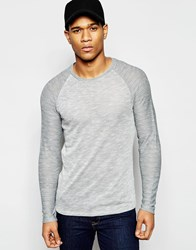 Asos Sheer Jersey Muscle Long Sleeve T Shirt With Contrast Raglan Grey