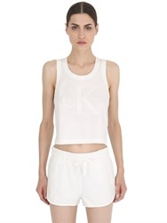 Calvin Klein Jeans Raw Cropped Cotton Jersey Tank Top