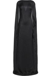 Vionnet Cape Effect Open Back Silk Blend Maxi Dress Black