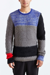 The Narrows Mohair Colorblock Crew Neck Sweater Black