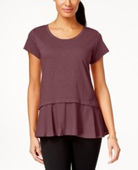 Styleandco. Style Co. Layered Look Peplum T Shirt Only At Macy's Pale Raspberry