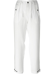 Emporio Armani Button Detail Cropped Trousers White