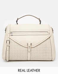 French Connection Leather Structured Tote Bag Cream