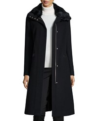 Andrew Marc New York Wool Blend Coat W Rabbit Fur Collar Women's Black