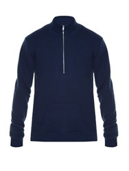 Maison Martin Margiela High Neck Zip Front Sweater Blue