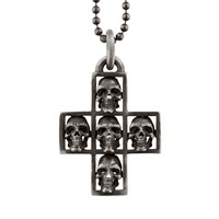 Snake Bones Multi Skull Cross Sterling Silver Pendant Necklace