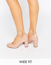 New Look Wide Fit Patent Mary Jane Heeled Shoe Stone