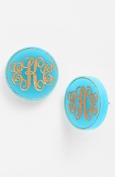 Women's Moon And Lola 'Chelsea' Medium Personalized Monogram Stud Earrings Turquoise Gold Nordstrom Exclusive