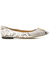 Tory Burch Python Printed Ballerina Shoes Nude And Neutrals