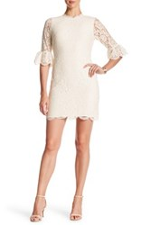 Four Stars Bell Sleeve Lace Sheath Dress White