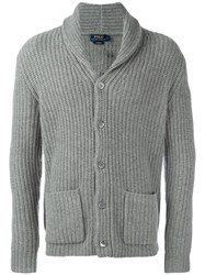 Polo Ralph Lauren Front Pockets Ribbed Detail Cardigan Grey
