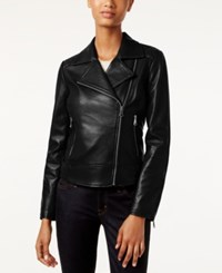 Marc New York Leah Leather Moto Jacket Black
