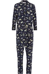 Chinti And Parker Printed Silk Blend Crepe De Chine Jumpsuit Midnight Blue