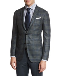 Ermenegildo Zegna Plaid Two Button Sport Coat Green Blue