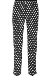 Rochas Printed Cotton And Silk Blend Faille Slim Leg Pants Charcoal