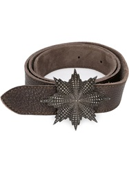 Ugo Cacciatori Flower Buckle Belt Brown