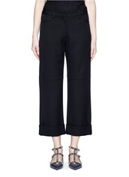 Victoria Beckham Wide Leg Wool Cropped Boyfriend Pants Black
