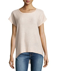 Neiman Marcus Striped Sequin Knit Tee Blush