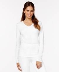 Cuddl Duds Softwear Lace Top White