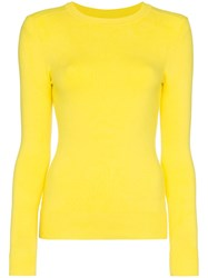 Joostricot Ribbed And Fitted Silk Blend Top Yellow And Orange