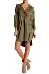 Arrow And Sol Fringe Detail Long Sleeve Dress Green