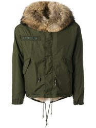 As65 A.S. Army Jacket Men Cotton Leather Nylon Coyote Fur L Green