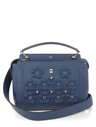 Fendi Dotcom Flowerland Embellished Leather Bag Dark Blue