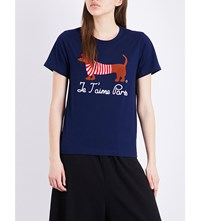 Chocoolate Doggie Cotton T Shirt Navy