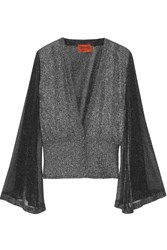 Missoni Metallic Crochet Knit Cardigan Silver