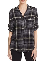 Bella Dahl Button Down Plaid Flannel Shirt Night Shade