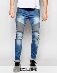 Liquor And Poker Skinny Zip Biker Jeans In Stonewash Blue Stonewash Blue