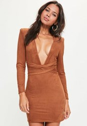 Missguided Orange Faux Suede Belt Detail Bodycon Dress Tan