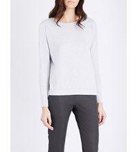The White Company Cropped Metallic Knit Jumper Pale Grey Marl