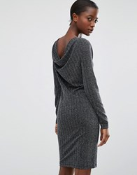 B.Young Silver Lurex Dress With Cowl Back Silver