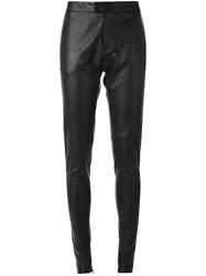 Bassike Tapered Leather Trousers Black
